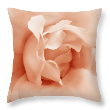 Peach Pastel Rose Flower Throw Pillow by Jennie Marie Schell