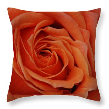 Peach Rose Close-up Throw Pillow