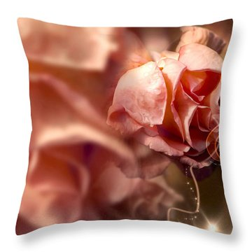 Peach Roses And Ribbons Throw Pillow by Svetlana Sewell
