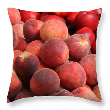 Peaches And Nectarines Throw Pillow by Carol Groenen