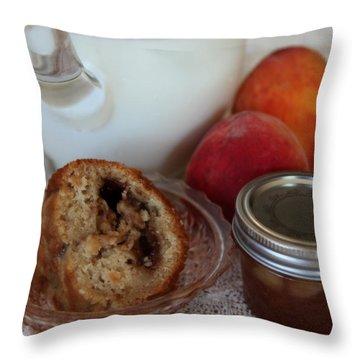 Peaches N Cream Throw Pillow by Karen Wiles