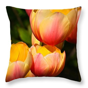 Peachy Tulips Throw Pillow by Byron Varvarigos