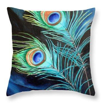 Peacock Beauties Throw Pillow