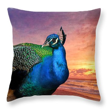 Peacock In Paradise Throw Pillow by Debra and Dave Vanderlaan