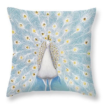 Peacock Pattern On The Wall Throw Pillow by Setsiri Silapasuwanchai
