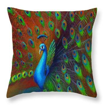 Peacock Spread Throw Pillow