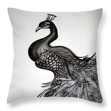 Peacock Sumie Ink Throw Pillow