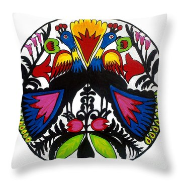 Peacock Tree Polish Folk Art Throw Pillow