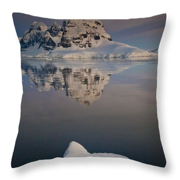 Peak On Wiencke Island Antarctic Throw Pillow by Colin Monteath