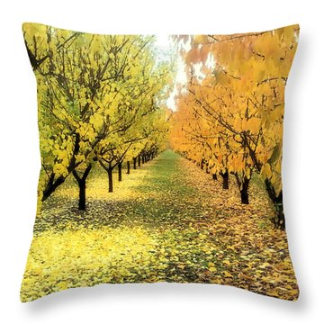 Pear Orchard In Fall Throw Pillow by Katie Wing Vigil