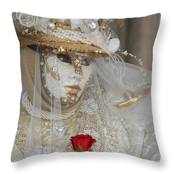 Pearl Bride With Rose 2 Throw Pillow