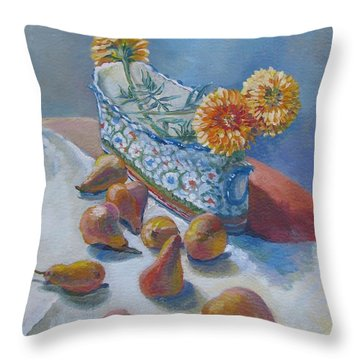 Pears And Antique Throw Pillow by Vanessa Hadady BFA MA