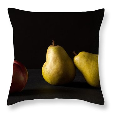 Pears And Peach Throw Pillow by Catherine Lau