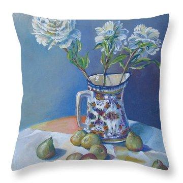 pears and Talavera table pitcher Throw Pillow by Vanessa Hadady BFA MA