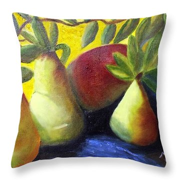 Pears In Sunshine Throw Pillow
