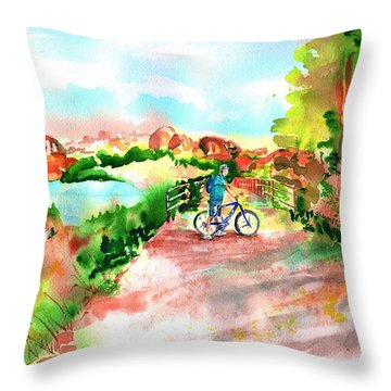 Peavine Trail Prescott Arizona Throw Pillow by Sharon Mick