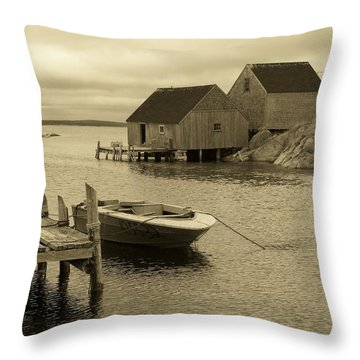 Peggys Cove In Sepia Throw Pillow by Richard Bryce and Family