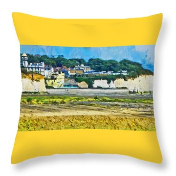 Throw Pillow featuring the digital art Pegwell Bay by Steve Taylor