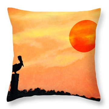 Throw Pillow featuring the photograph Pelican During Hot Day by Dan Friend