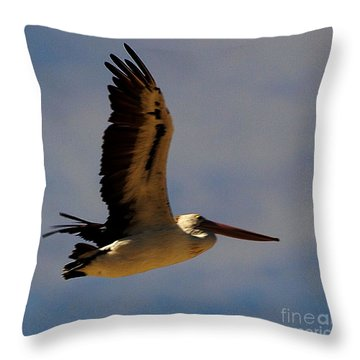 Throw Pillow featuring the photograph Pelican In Flight by Blair Stuart