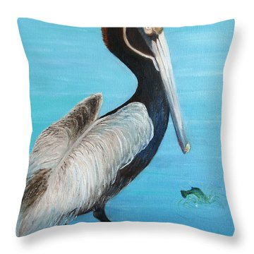 Pelican Throw Pillow by June Holwell