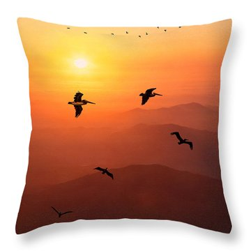 Throw Pillow featuring the photograph Pelican Migration by Chris Lord