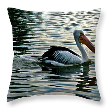 Pelican On A Mission Throw Pillow by Jocelyn Kahawai