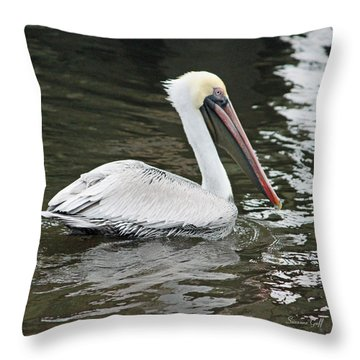 Pelican Solo Throw Pillow by Suzanne Gaff