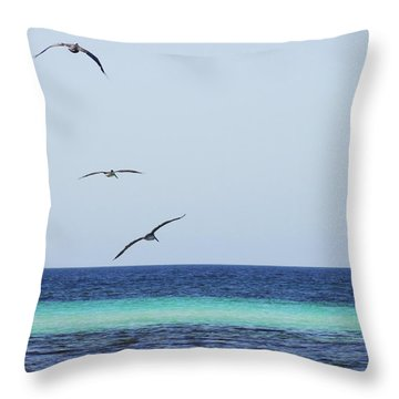 Pelicans In Flight Over Turquoise Blue Water.  Throw Pillow