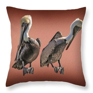 Throw Pillow featuring the photograph Pelicans Posing by Dan Friend
