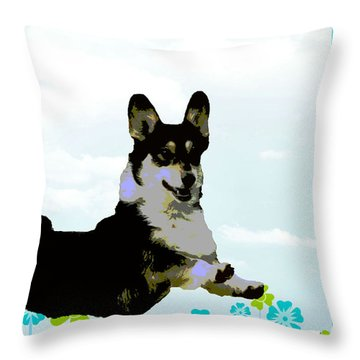 Pembroke Welsh Corgi Throw Pillow by One Rude Dawg Orcutt
