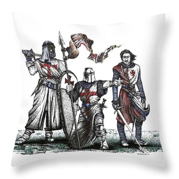 Pen And Ink Drawing Of Templaries  Throw Pillow by Mario Perez