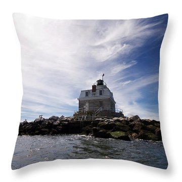 Penfield Reef Lighthouse Throw Pillow by Stephanie McDowell