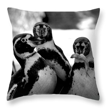 Penguins Throw Pillow by Pravine Chester