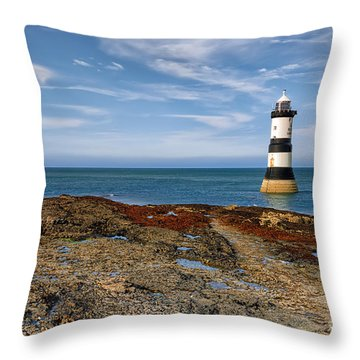 Penmon Point Lighthouse Throw Pillow by Adrian Evans