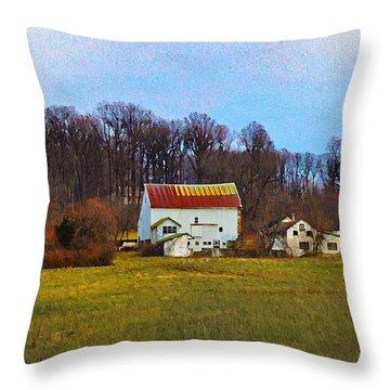 Pennsylvaina Farm Scene Throw Pillow by Bill Cannon