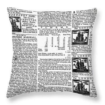 Pennsylvania Gazette, C1749 Throw Pillow by Granger