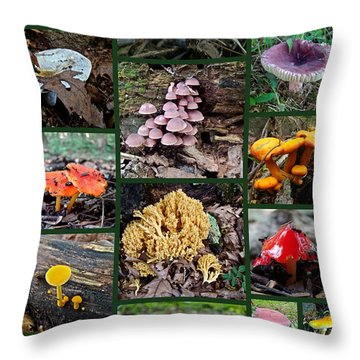 Pennsylvania Mushrooms Collage 2 Throw Pillow by Mother Nature