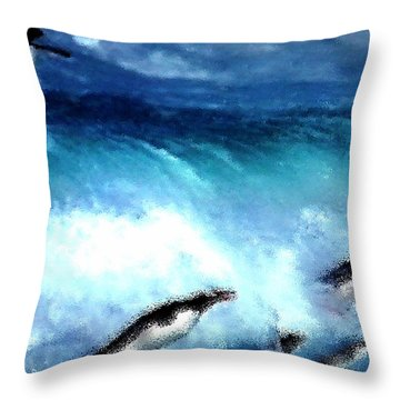 Throw Pillow featuring the painting Penquin Play by Colette V Hera  Guggenheim