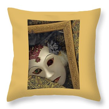Throw Pillow featuring the mixed media Pensive by Nareeta Martin