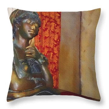 Pensive Statue Throw Pillow