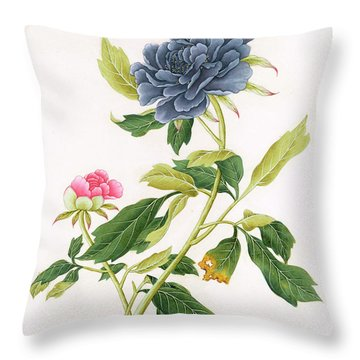 Peony Throw Pillow by Georg Dionysius Ehret
