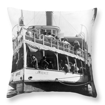 People Fleeing Galveston After Flood - September 1900 Throw Pillow by International  Images
