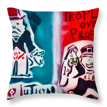 People Over Profits Throw Pillow by Tony B Conscious