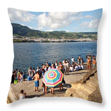 People Waiting At The Islet Throw Pillow by Gaspar Avila