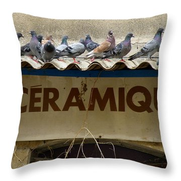 Perched Pigeons Throw Pillow by Lainie Wrightson