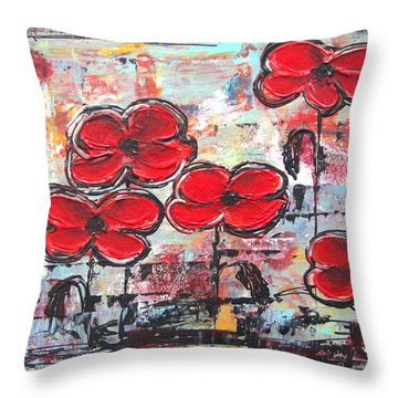 Perfect Poppies Throw Pillow