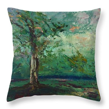 Throw Pillow featuring the painting Persimmon In Plein Air by Carol Berning