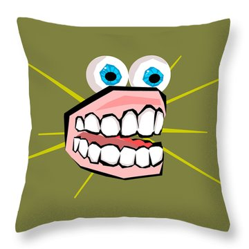 Personality Teeth Throw Pillow by Jera Sky