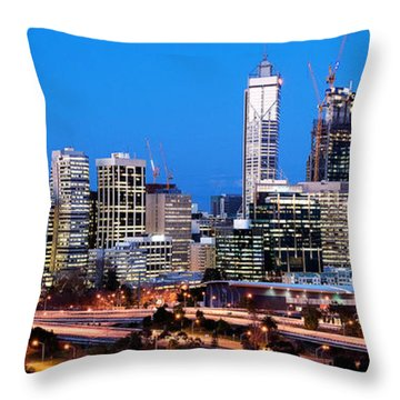 Perth City Night View From Kings Park Throw Pillow by Yew Kwang